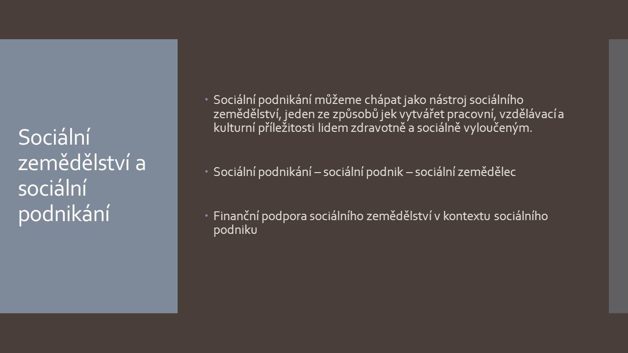 Sociální zemědělství a sociální podnikání  Sociální podnikání můžeme chápat jako nástroj sociálního zemědělství, jeden ze způsobů jek vytvářet pracov