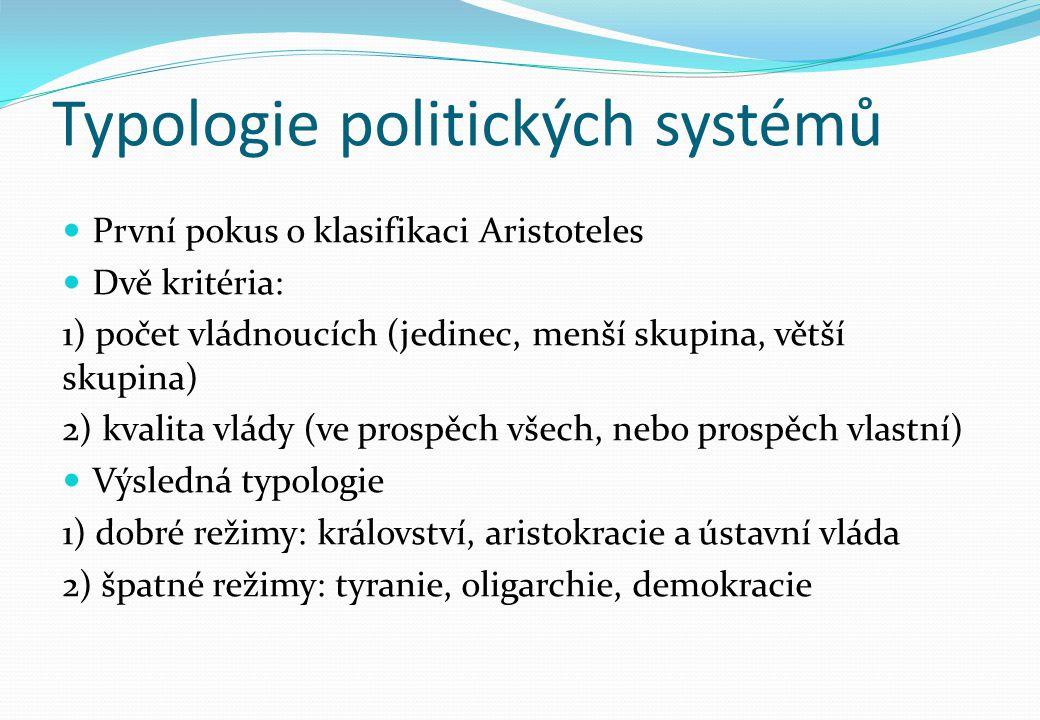 Typologie politických systémů První pokus o klasifikaci Aristoteles Dvě kritéria: 1) počet vládnoucích (jedinec, menší skupina, větší skupina) 2) kval