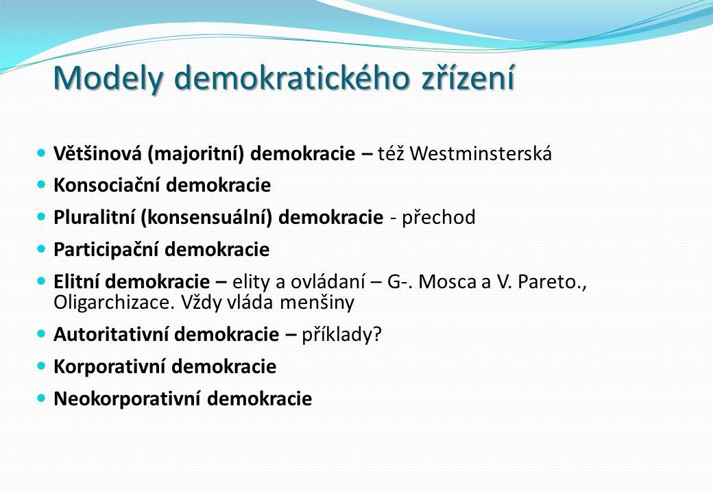 Modely demokratického zřízení Většinová (majoritní) demokracie – též Westminsterská Konsociační demokracie Pluralitní (konsensuální) demokracie - přechod Participační demokracie Elitní demokracie – elity a ovládaní – G-.
