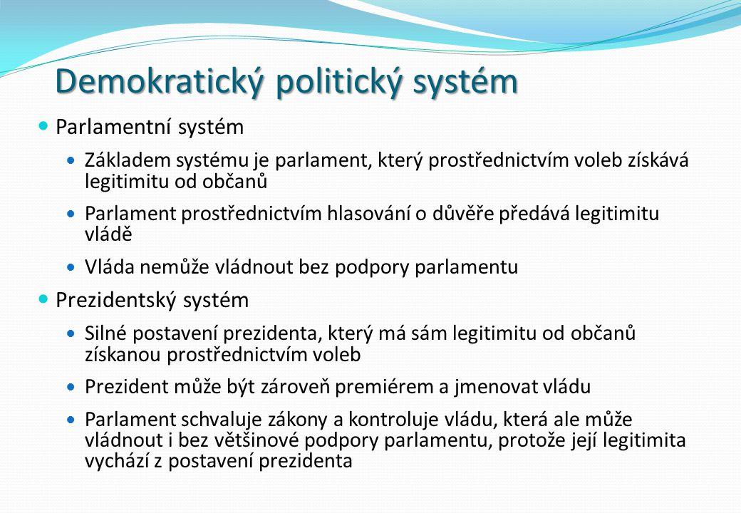 Demokratický politický systém Parlamentní systém Základem systému je parlament, který prostřednictvím voleb získává legitimitu od občanů Parlament prostřednictvím hlasování o důvěře předává legitimitu vládě Vláda nemůže vládnout bez podpory parlamentu Prezidentský systém Silné postavení prezidenta, který má sám legitimitu od občanů získanou prostřednictvím voleb Prezident může být zároveň premiérem a jmenovat vládu Parlament schvaluje zákony a kontroluje vládu, která ale může vládnout i bez většinové podpory parlamentu, protože její legitimita vychází z postavení prezidenta
