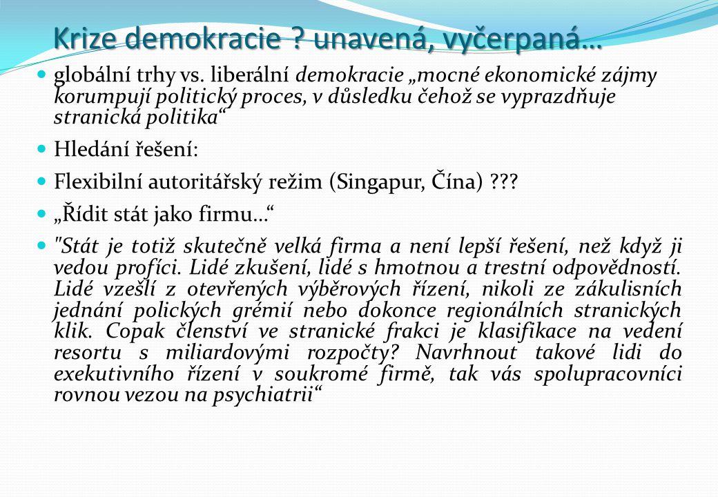 """Krize demokracie ? unavená, vyčerpaná… globální trhy vs. liberální demokracie """"mocné ekonomické zájmy korumpují politický proces, v důsledku čehož se"""
