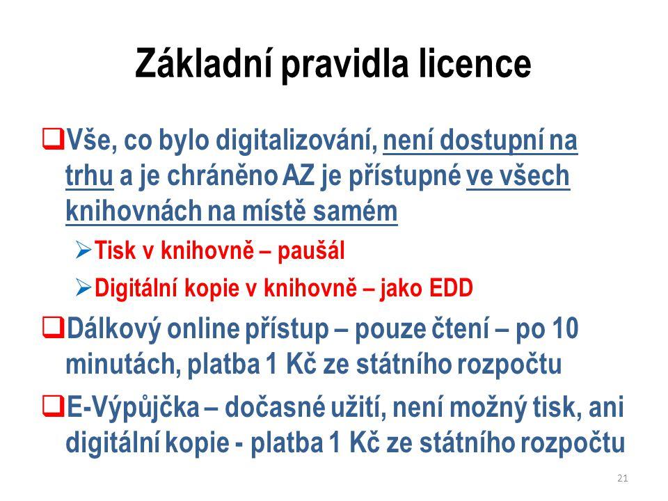 Základní pravidla licence  Vše, co bylo digitalizování, není dostupní na trhu a je chráněno AZ je přístupné ve všech knihovnách na místě samém  Tisk v knihovně – paušál  Digitální kopie v knihovně – jako EDD  Dálkový online přístup – pouze čtení – po 10 minutách, platba 1 Kč ze státního rozpočtu  E-Výpůjčka – dočasné užití, není možný tisk, ani digitální kopie - platba 1 Kč ze státního rozpočtu 21