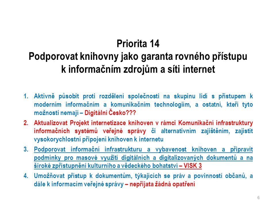 Priorita 14 Podporovat knihovny jako garanta rovného přístupu k informačním zdrojům a síti internet 1.Aktivně působit proti rozdělení společnosti na skupinu lidí s přístupem k moderním informačním a komunikačním technologiím, a ostatní, kteří tyto možnosti nemají – Digitální Česko??.