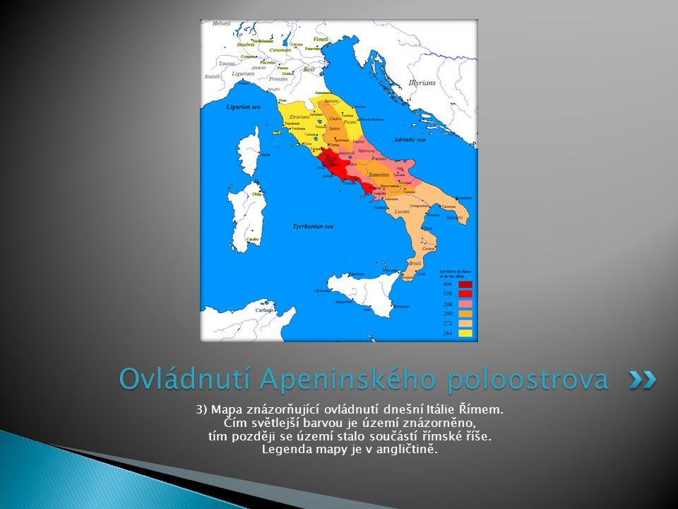 3) Mapa znázorňující ovládnutí dnešní Itálie Římem. Čím světlejší barvou je území znázorněno, tím později se území stalo součástí římské říše. Legenda