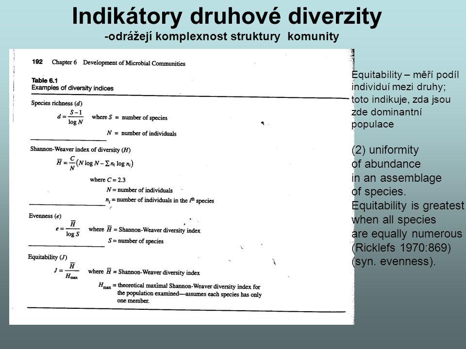 Indikátory druhové diverzity -odrážejí komplexnost struktury komunity Equitability – měří podíl individuí mezi druhy; toto indikuje, zda jsou zde domi