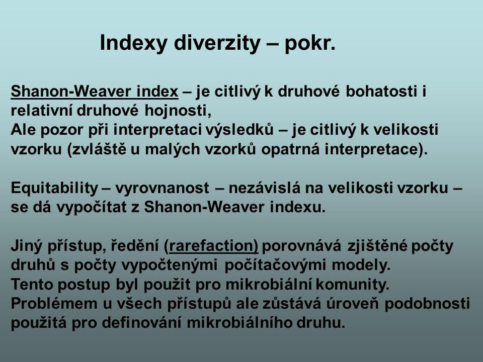Indexy diverzity – pokr. Shanon-Weaver index – je citlivý k druhové bohatosti i relativní druhové hojnosti, Ale pozor při interpretaci výsledků – je c