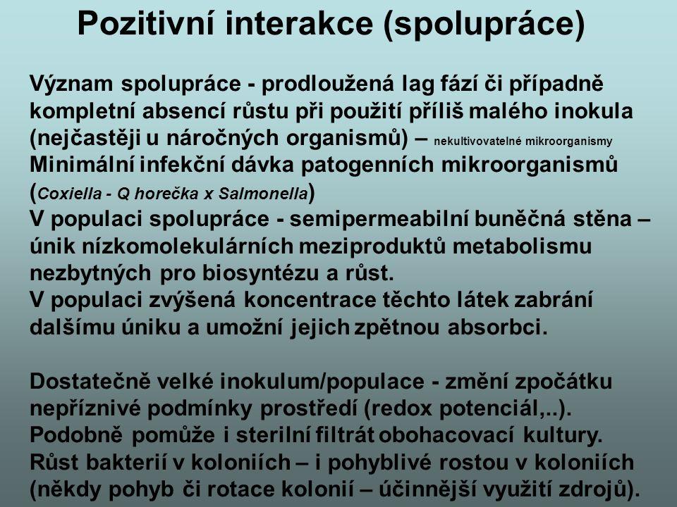 Pozitivní interakce (spolupráce) Význam spolupráce - prodloužená lag fází či případně kompletní absencí růstu při použití příliš malého inokula (nejča