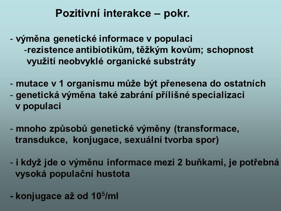 Pozitivní interakce – pokr. - výměna genetické informace v populaci -rezistence antibiotikům, těžkým kovům; schopnost využití neobvyklé organické subs