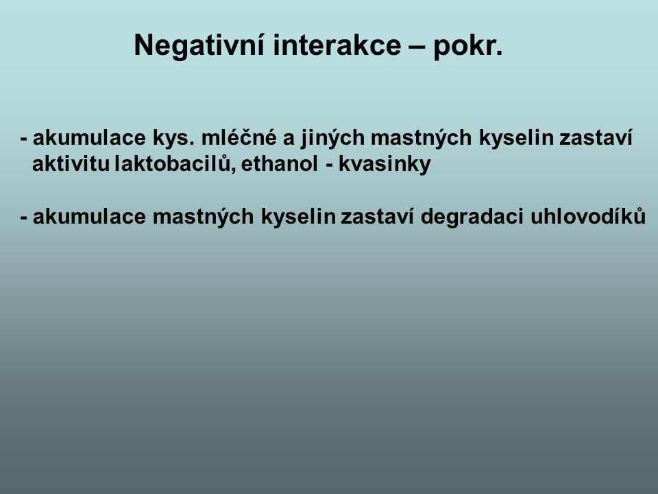 Negativní interakce – pokr. - akumulace kys. mléčné a jiných mastných kyselin zastaví aktivitu laktobacilů, ethanol - kvasinky - akumulace mastných ky