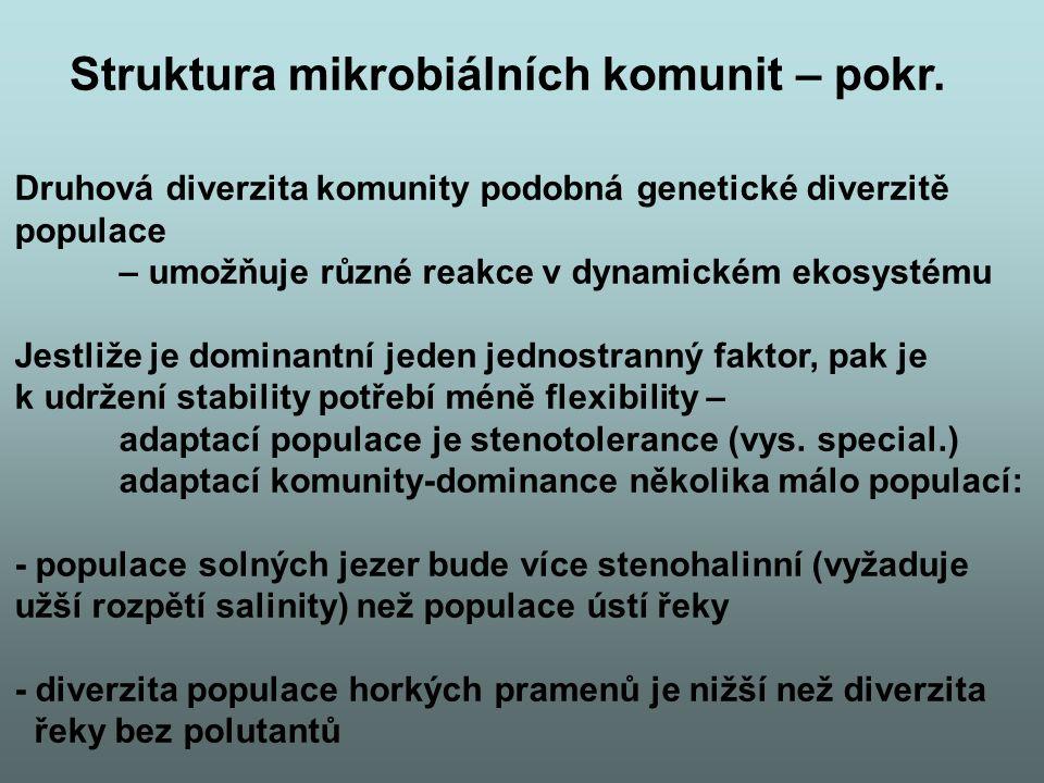 Druhová diverzita komunity podobná genetické diverzitě populace – umožňuje různé reakce v dynamickém ekosystému Jestliže je dominantní jeden jednostra