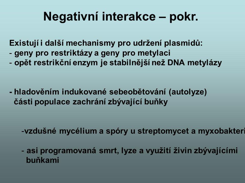Negativní interakce – pokr. Existují i další mechanismy pro udržení plasmidů: - geny pro restriktázy a geny pro metylaci - opět restrikční enzym je st