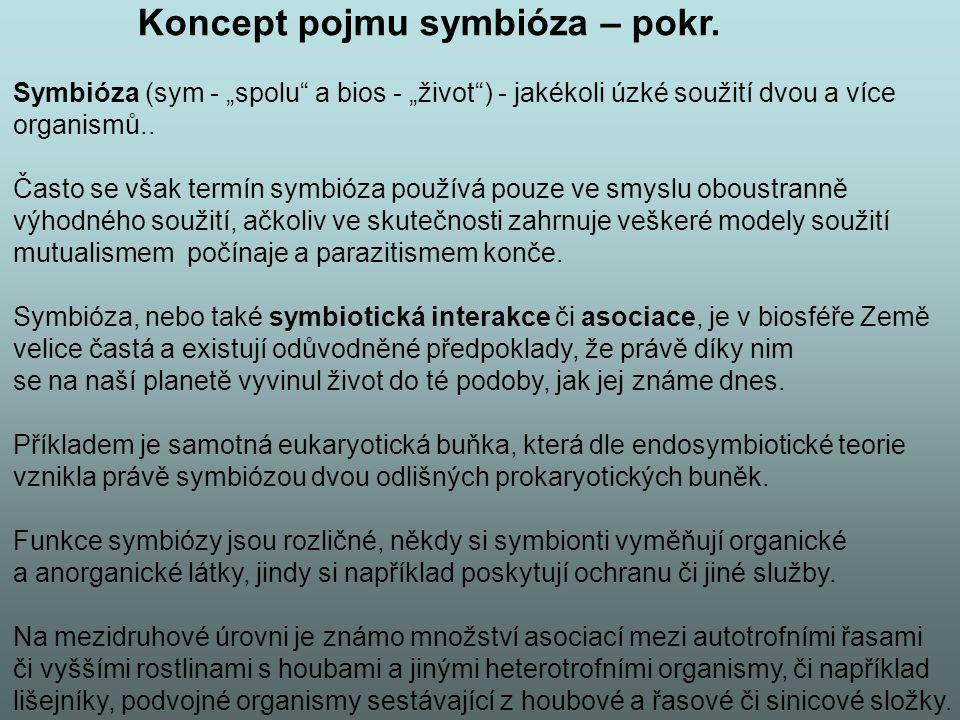 """Koncept pojmu symbióza – pokr. Symbióza (sym - """"spolu"""" a bios - """"život"""") - jakékoli úzké soužití dvou a více organismů.. Často se však termín symbióza"""