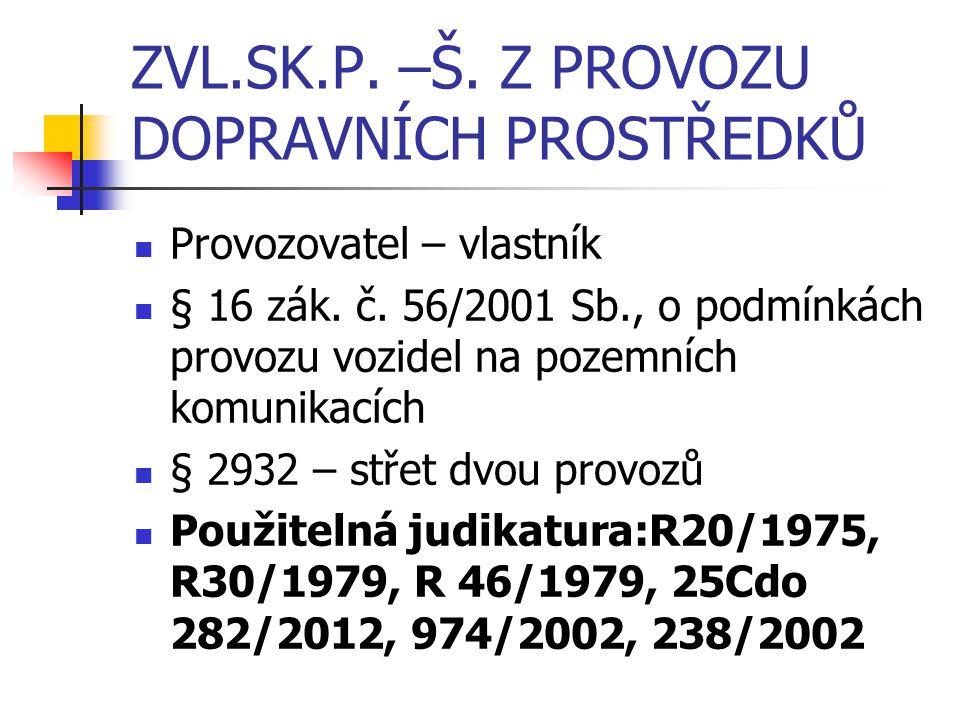 ZVL.SK.P. –Š. Z PROVOZU DOPRAVNÍCH PROSTŘEDKŮ Provozovatel – vlastník § 16 zák. č. 56/2001 Sb., o podmínkách provozu vozidel na pozemních komunikacích