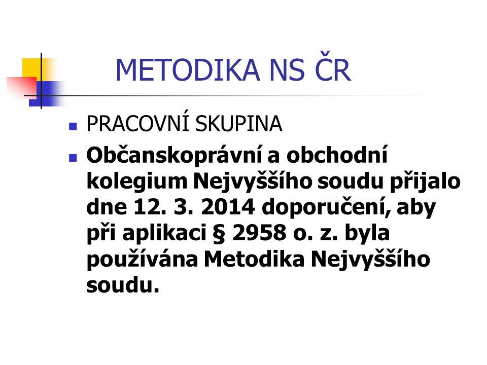 METODIKA NS ČR PRACOVNÍ SKUPINA Občanskoprávní a obchodní kolegium Nejvyššího soudu přijalo dne 12. 3. 2014 doporučení, aby při aplikaci § 2958 o. z.
