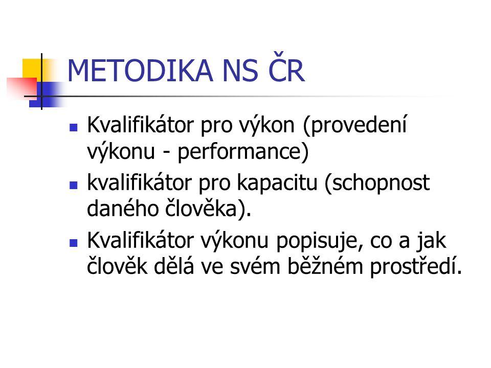 METODIKA NS ČR Kvalifikátor pro výkon (provedení výkonu - performance) kvalifikátor pro kapacitu (schopnost daného člověka). Kvalifikátor výkonu popis