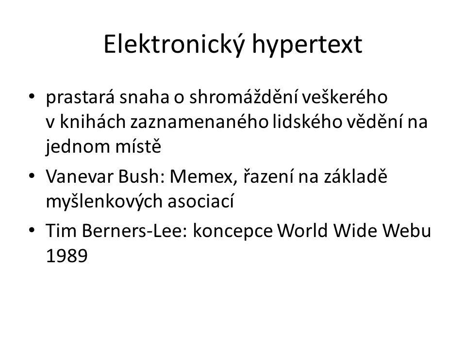 Elektronický hypertext prastará snaha o shromáždění veškerého v knihách zaznamenaného lidského vědění na jednom místě Vanevar Bush: Memex, řazení na z