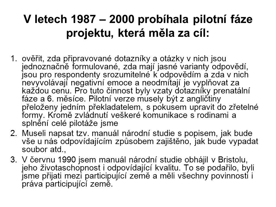 V letech 1987 – 2000 probíhala pilotní fáze projektu, která měla za cíl: 1.ověřit, zda připravované dotazníky a otázky v nich jsou jednoznačně formulo