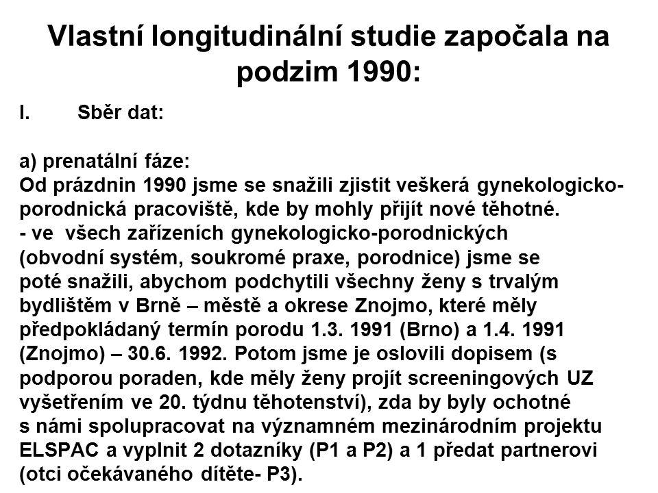Vlastní longitudinální studie započala na podzim 1990: I.Sběr dat: a) prenatální fáze: Od prázdnin 1990 jsme se snažili zjistit veškerá gynekologicko-
