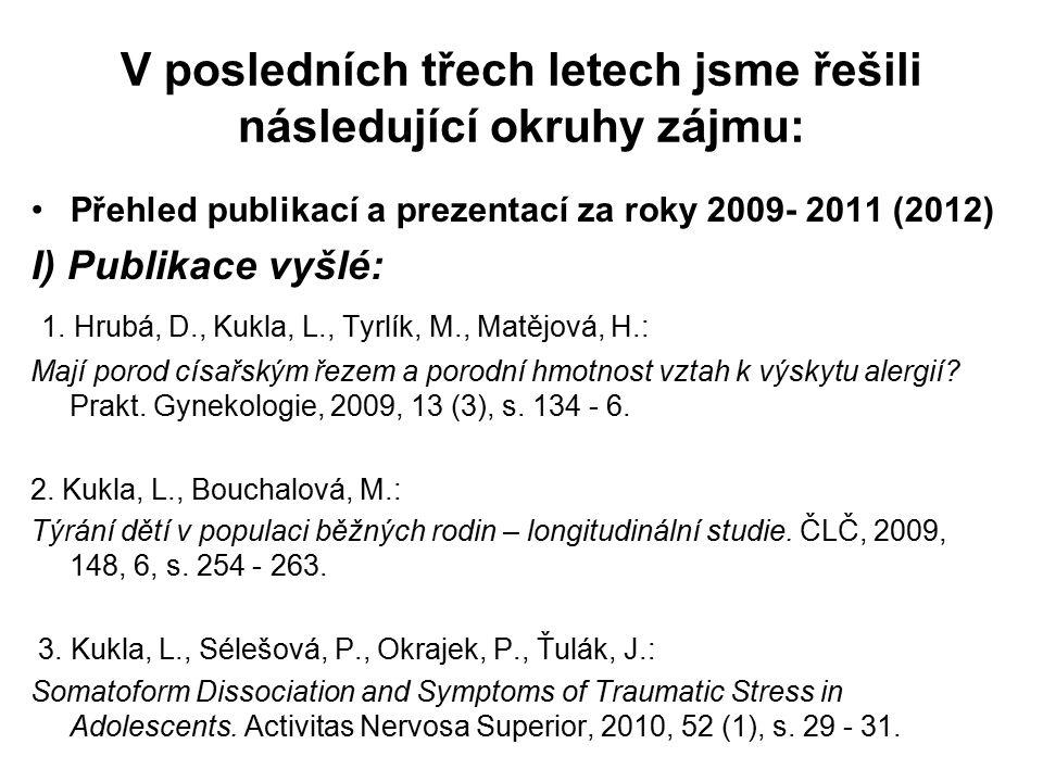 V posledních třech letech jsme řešili následující okruhy zájmu: Přehled publikací a prezentací za roky 2009- 2011 (2012) I) Publikace vyšlé: 1. Hrubá,