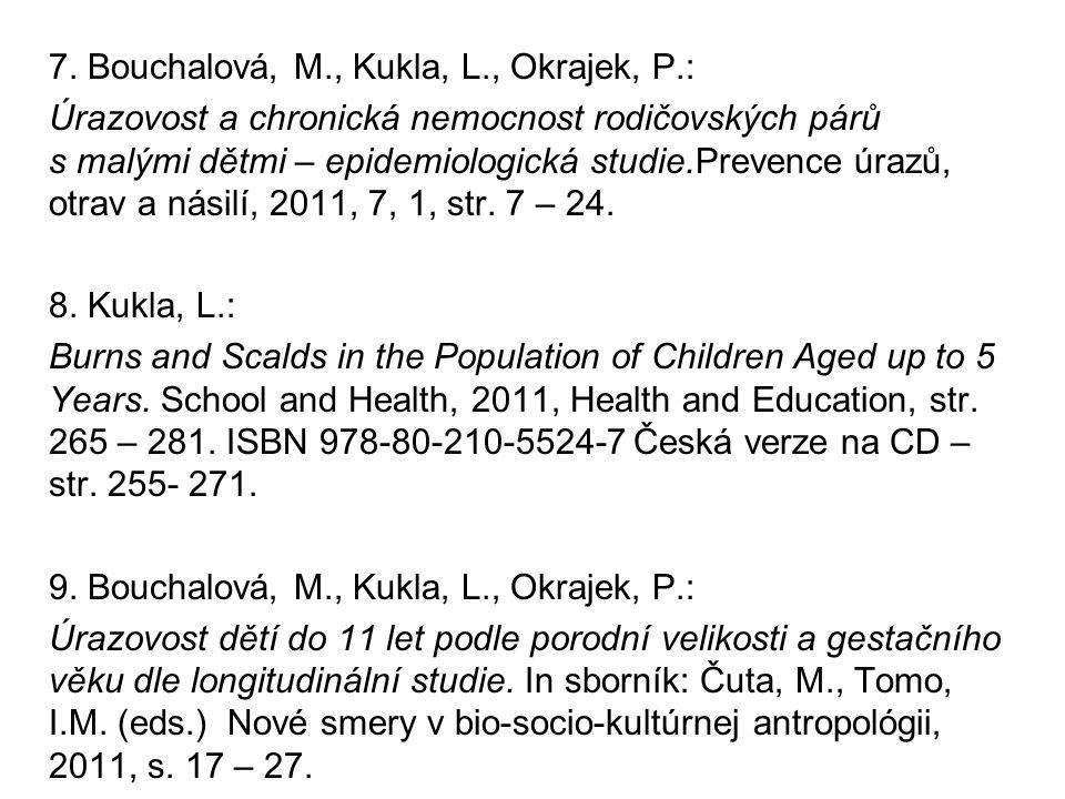 7. Bouchalová, M., Kukla, L., Okrajek, P.: Úrazovost a chronická nemocnost rodičovských párů s malými dětmi – epidemiologická studie.Prevence úrazů, o