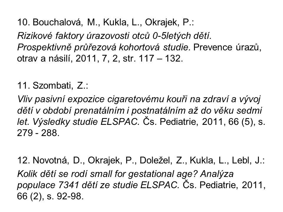 10. Bouchalová, M., Kukla, L., Okrajek, P.: Rizikové faktory úrazovosti otců 0-5letých dětí. Prospektivně průřezová kohortová studie. Prevence úrazů,