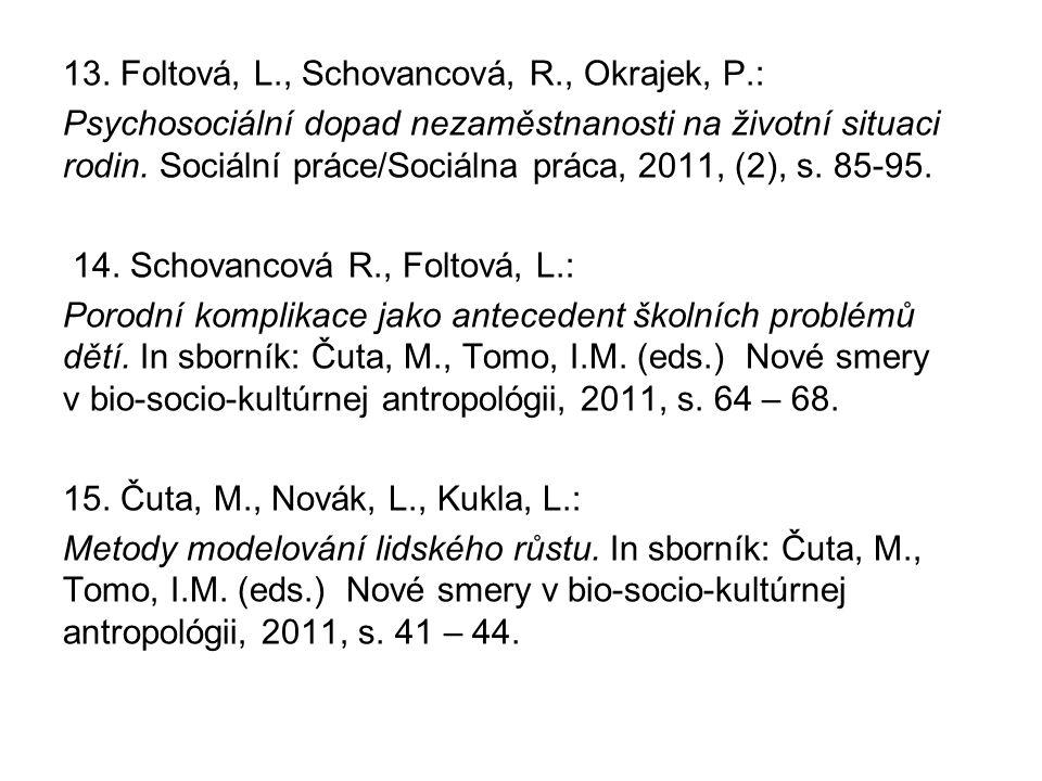 13. Foltová, L., Schovancová, R., Okrajek, P.: Psychosociální dopad nezaměstnanosti na životní situaci rodin. Sociální práce/Sociálna práca, 2011, (2)