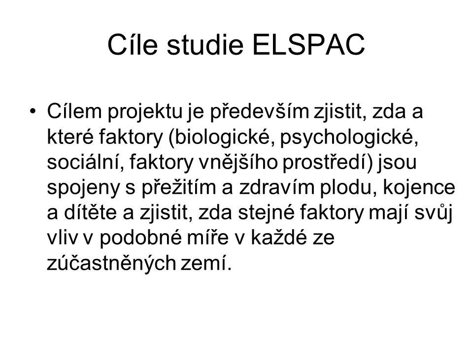 Cíle studie ELSPAC Cílem projektu je především zjistit, zda a které faktory (biologické, psychologické, sociální, faktory vnějšího prostředí) jsou spo