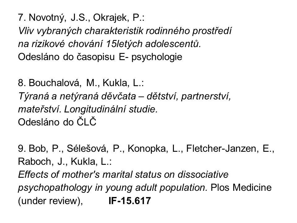 7. Novotný, J.S., Okrajek, P.: Vliv vybraných charakteristik rodinného prostředí na rizikové chování 15letých adolescentů. Odesláno do časopisu E- psy