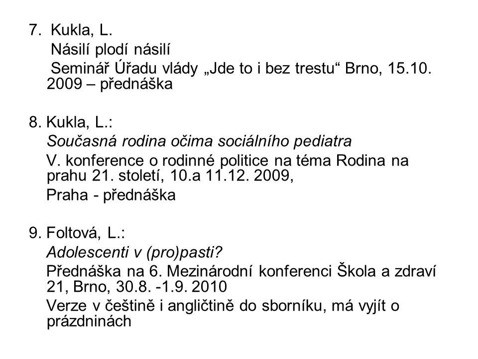 """7. Kukla, L. Násilí plodí násilí Seminář Úřadu vlády """"Jde to i bez trestu"""" Brno, 15.10. 2009 – přednáška 8. Kukla, L.: Současná rodina očima sociálníh"""