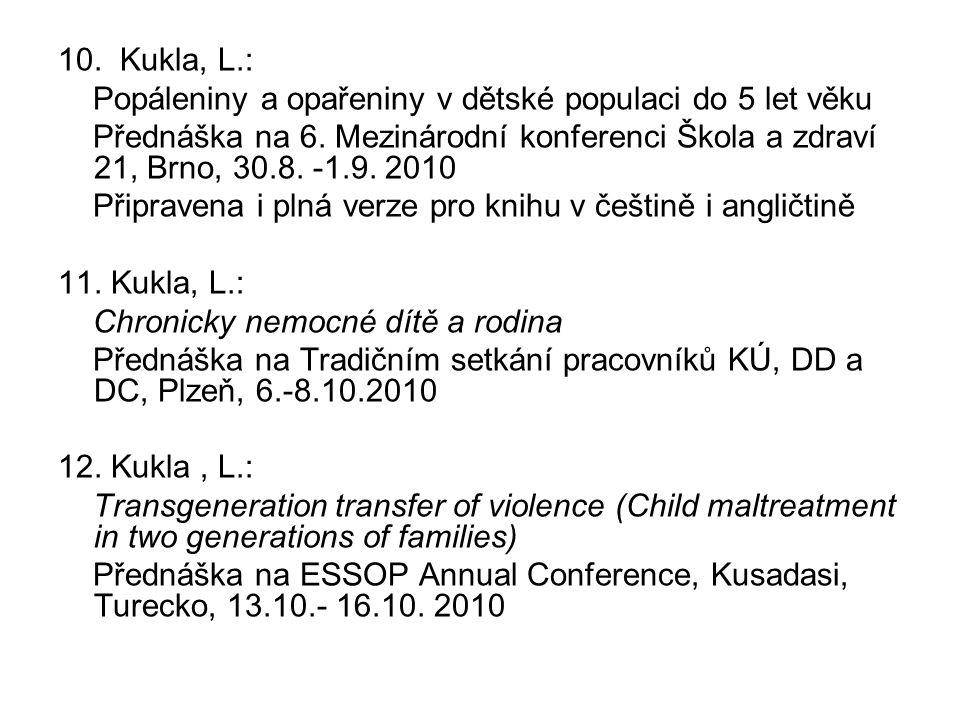 10. Kukla, L.: Popáleniny a opařeniny v dětské populaci do 5 let věku Přednáška na 6. Mezinárodní konferenci Škola a zdraví 21, Brno, 30.8. -1.9. 2010