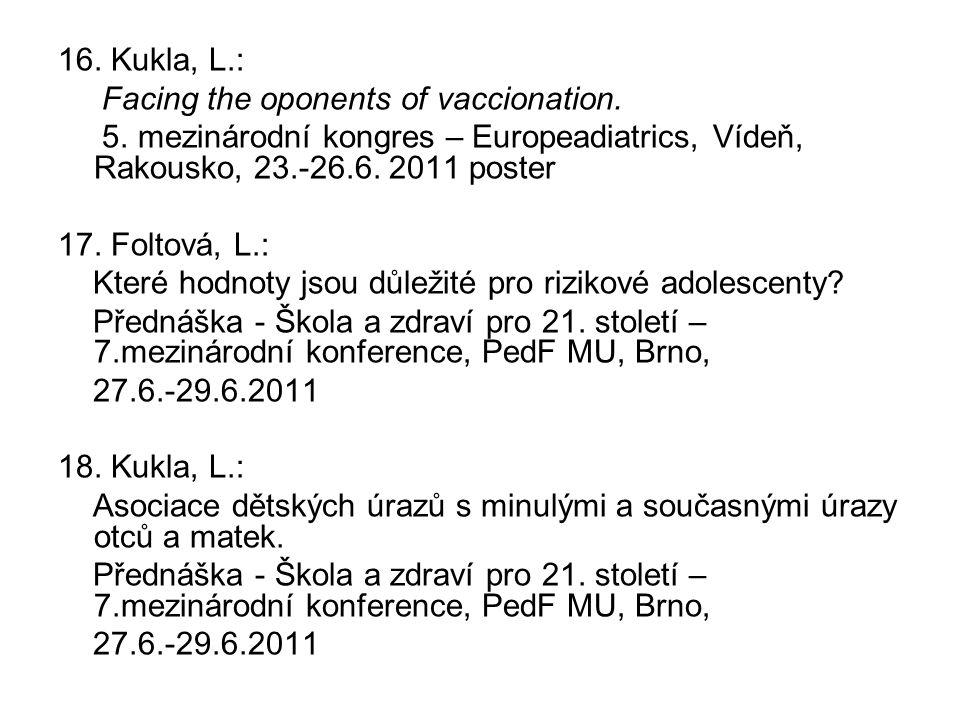 16. Kukla, L.: Facing the oponents of vaccionation. 5. mezinárodní kongres – Europeadiatrics, Vídeň, Rakousko, 23.-26.6. 2011 poster 17. Foltová, L.: