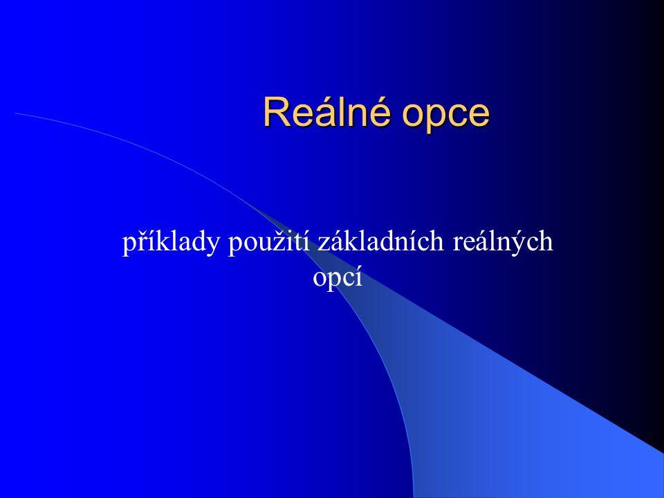 Reálné opce příklady použití základních reálných opcí