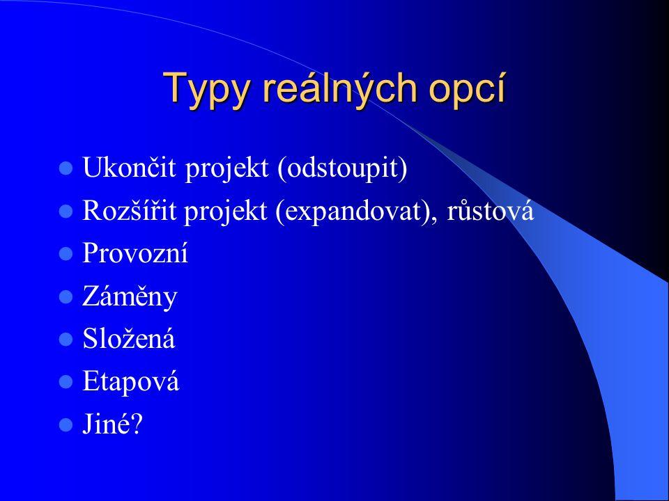 Typy reálných opcí Ukončit projekt (odstoupit) Rozšířit projekt (expandovat), růstová Provozní Záměny Složená Etapová Jiné?