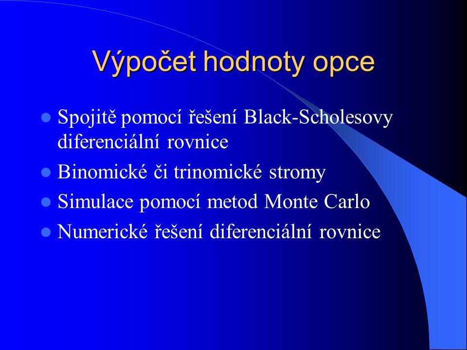 Výpočet hodnoty opce Spojitě pomocí řešení Black-Scholesovy diferenciální rovnice Binomické či trinomické stromy Simulace pomocí metod Monte Carlo Num