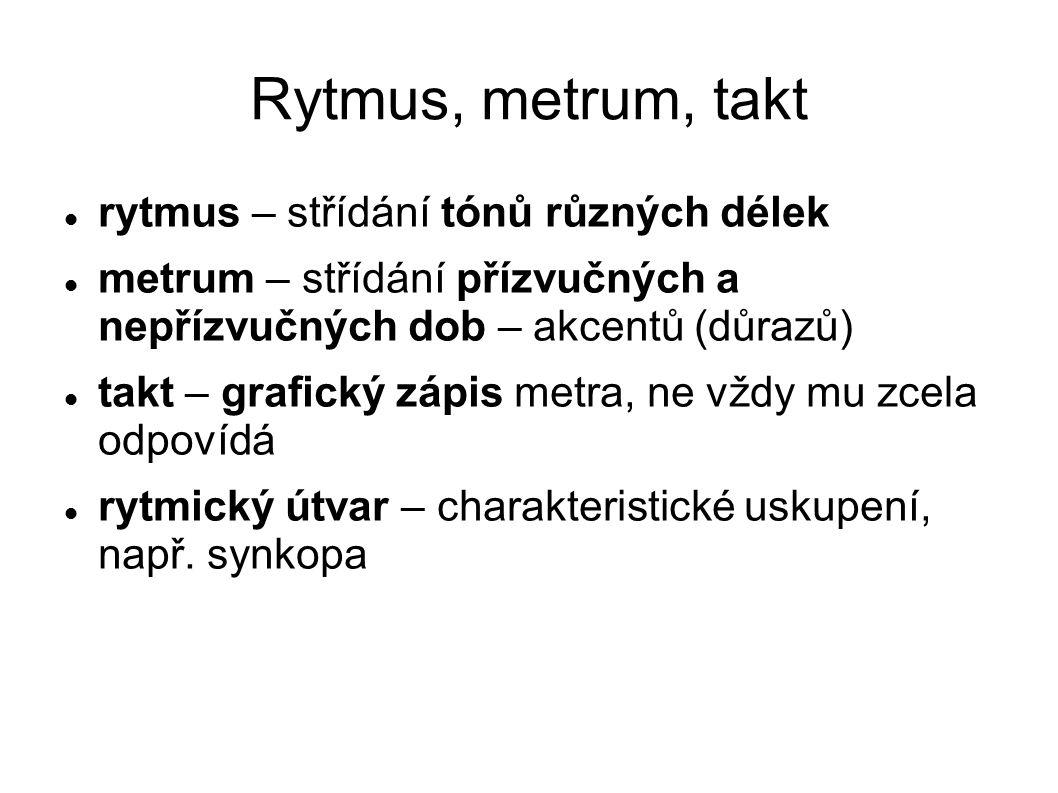 Rytmus, metrum, takt rytmus – střídání tónů různých délek metrum – střídání přízvučných a nepřízvučných dob – akcentů (důrazů) takt – grafický zápis m