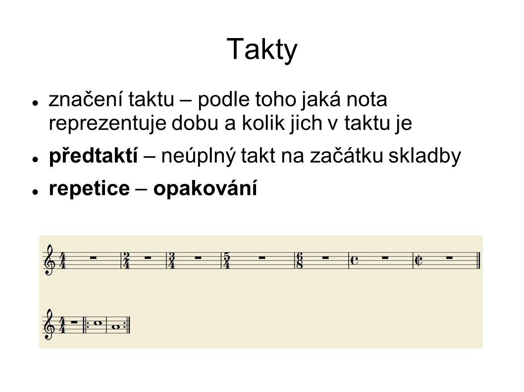 Takty značení taktu – podle toho jaká nota reprezentuje dobu a kolik jich v taktu je předtaktí – neúplný takt na začátku skladby repetice – opakování