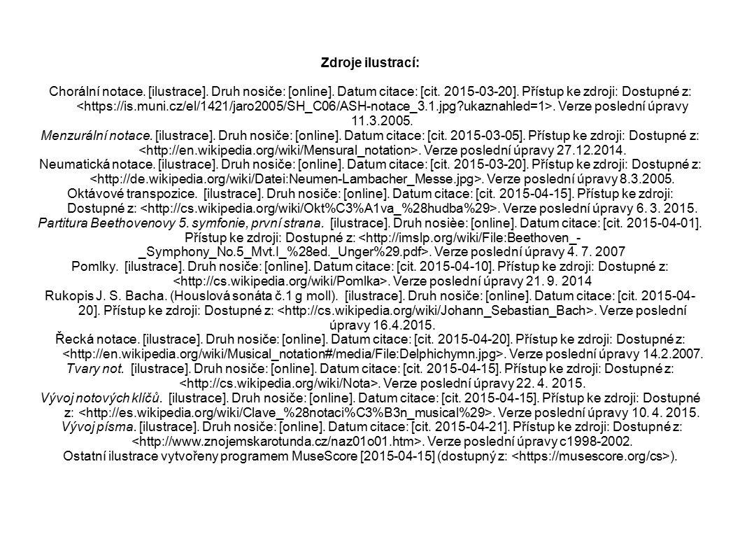 Zdroje ilustrací: Chorální notace. [ilustrace]. Druh nosiče: [online]. Datum citace: [cit. 2015-03-20]. Přístup ke zdroji: Dostupné z:. Verze poslední
