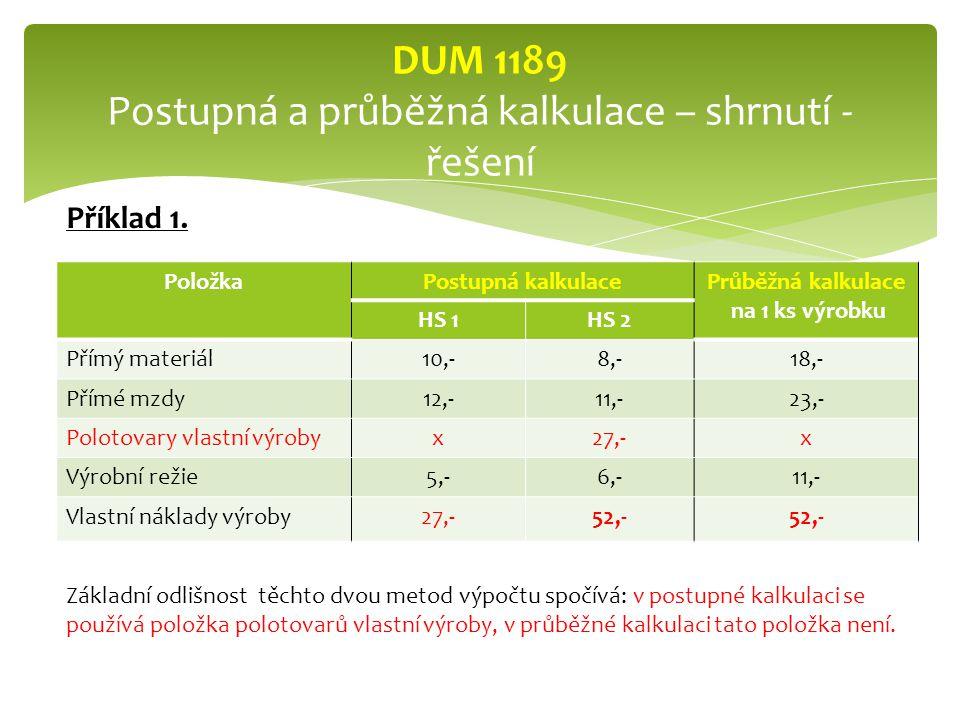 PoložkaPostupná kalkulacePrůběžná kalkulace na 1 ks výrobku HS 1HS 2 Přímý materiál10,-8,-18,- Přímé mzdy12,-11,-23,- Polotovary vlastní výrobyx27,-x Výrobní režie5,-6,-11,- Vlastní náklady výroby27,-52,- DUM 1189 Postupná a průběžná kalkulace – shrnutí - řešení Základní odlišnost těchto dvou metod výpočtu spočívá: v postupné kalkulaci se používá položka polotovarů vlastní výroby, v průběžné kalkulaci tato položka není.