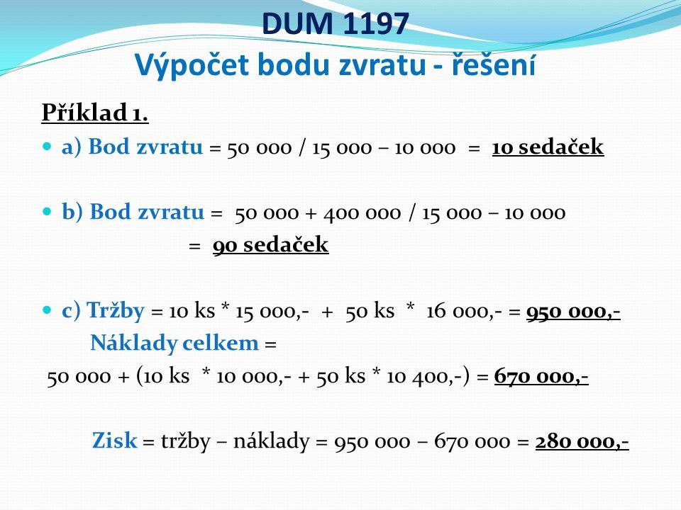 DUM 1197 Výpočet bodu zvratu - řešen í Příklad 1.