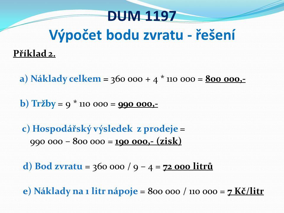 DUM 1197 Výpočet bodu zvratu - řešení Příklad 2.