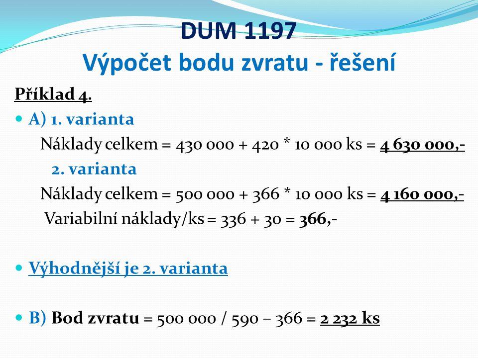 DUM 1197 Výpočet bodu zvratu - řešení Příklad 4.A) 1.