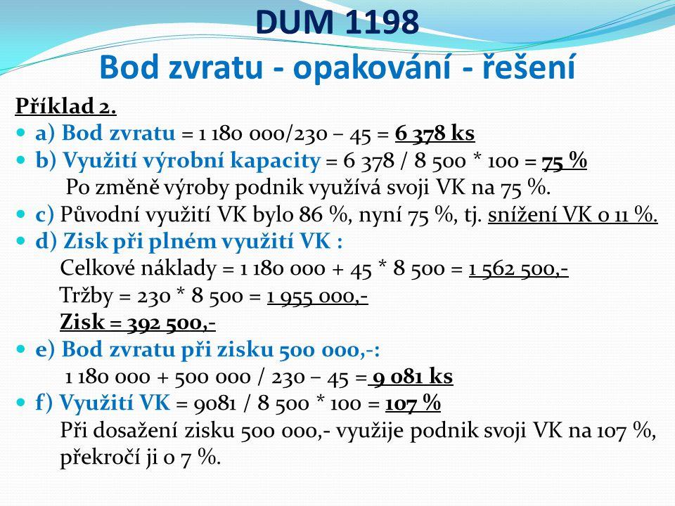 DUM 1198 Bod zvratu - opakování - řešení Příklad 2.