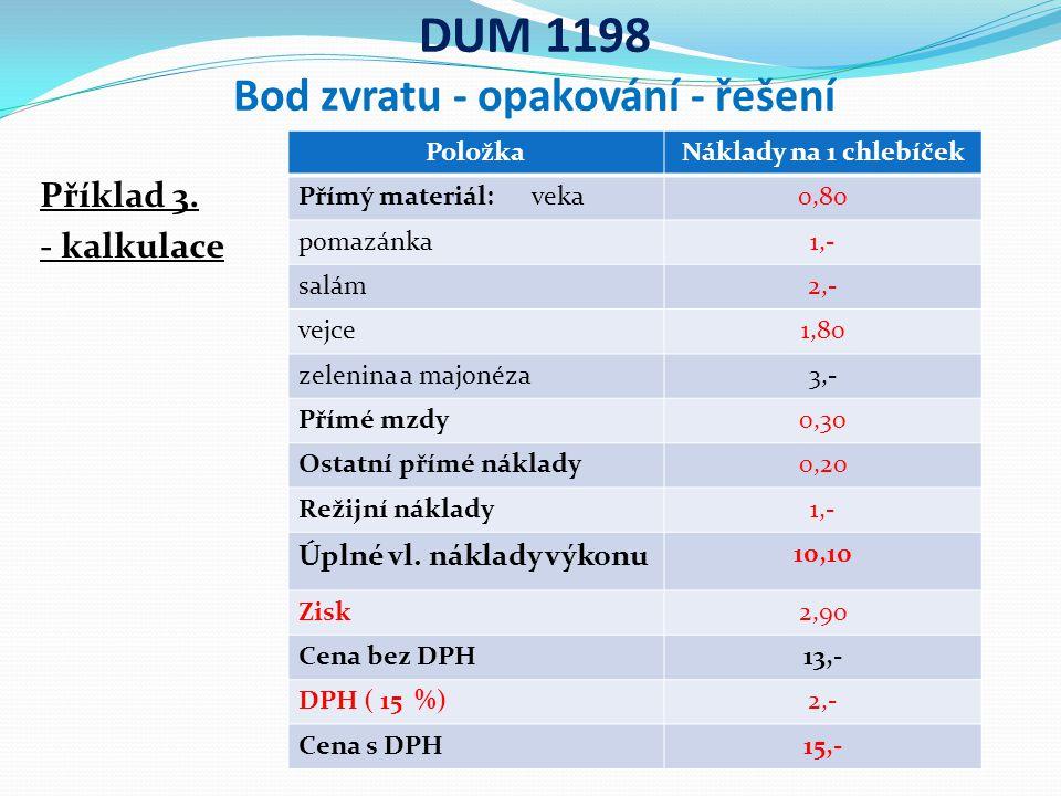 DUM 1198 Bod zvratu - opakování - řešení Příklad 3.