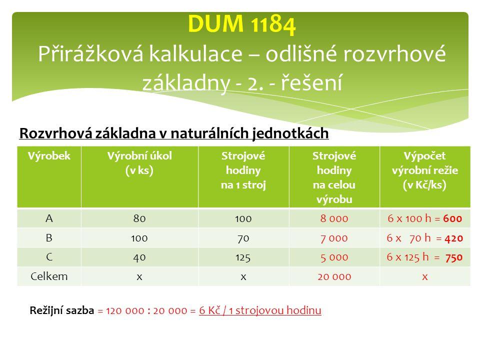 VýrobekVýrobní úkol (v ks) Strojové hodiny na 1 stroj Strojové hodiny na celou výrobu Výpočet výrobní režie (v Kč/ks) A801008 0006 x 100 h = 600 B100707 0006 x 70 h = 420 C401255 0006 x 125 h = 750 Celkemxx20 000x DUM 1184 Přirážková kalkulace – odlišné rozvrhové základny - 2.