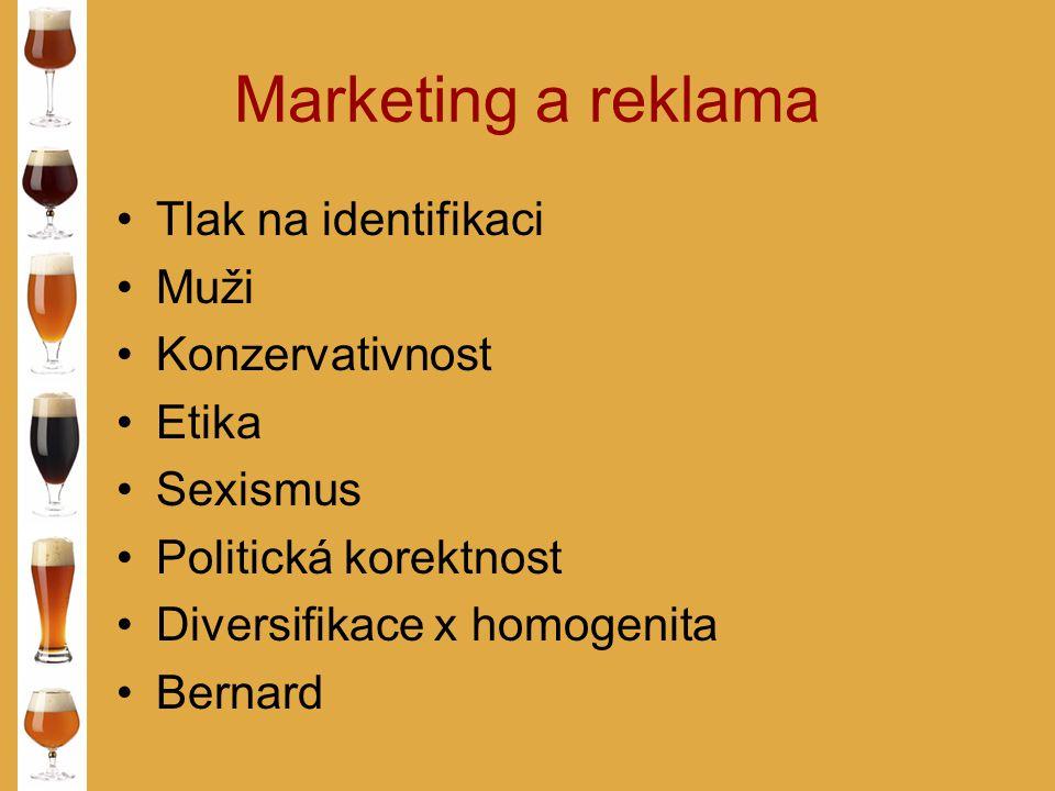 Marketing a reklama Tlak na identifikaci Muži Konzervativnost Etika Sexismus Politická korektnost Diversifikace x homogenita Bernard