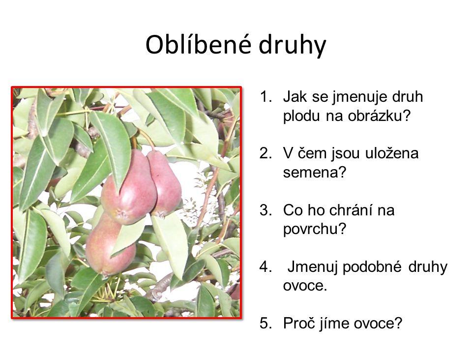Oblíbené druhy 1.Jak se jmenuje druh plodu na obrázku? 2.V čem jsou uložena semena? 3.Co ho chrání na povrchu? 4. Jmenuj podobné druhy ovoce. 5.Proč j