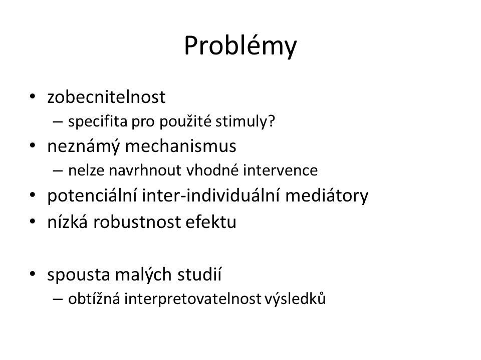 Problémy zobecnitelnost – specifita pro použité stimuly.