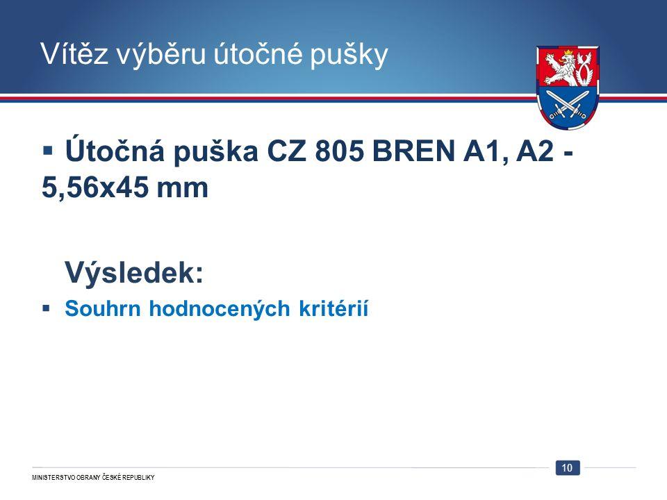 MINISTERSTVO OBRANY ČESKÉ REPUBLIKY Vítěz výběru útočné pušky  Útočná puška CZ 805 BREN A1, A2 - 5,56x45 mm Výsledek:  Souhrn hodnocených kritérií 1