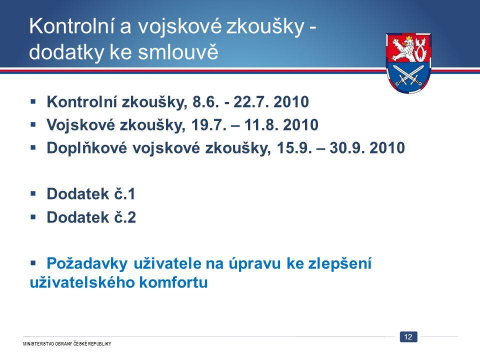 MINISTERSTVO OBRANY ČESKÉ REPUBLIKY Kontrolní a vojskové zkoušky - dodatky ke smlouvě  Kontrolní zkoušky, 8.6. - 22.7. 2010  Vojskové zkoušky, 19.7.