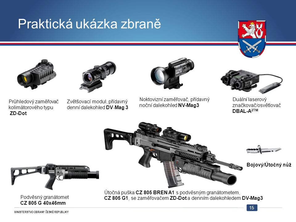 MINISTERSTVO OBRANY ČESKÉ REPUBLIKY Praktická ukázka zbraně 15 Zvětšovací modul, přídavný denní dalekohled DV-Mag 3 Noktovizní zaměřovač, přídavný noč